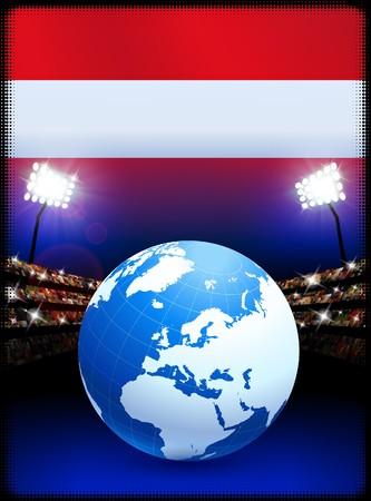 Austria Flag with Globe on Stadium BackgroundOriginal Illustration Stock Illustration - 7264158