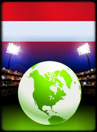 スタジアムの背景に世界中でオーストリアの国旗オリジナル イラスト