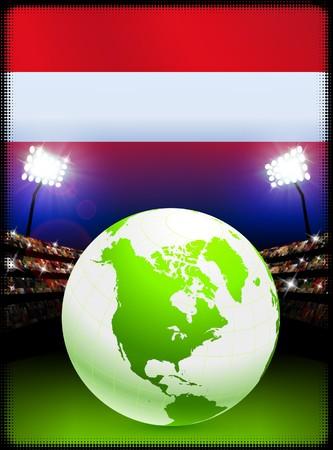 Austria Flag with Globe on Stadium BackgroundOriginal Illustration
