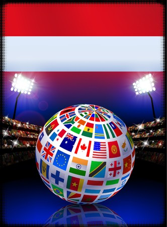 Austria Flag Globe on Stadium BackgroundOriginal Illustration