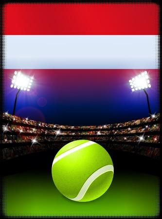 オーストリアの国旗とスタジアムの背景にテニス ・ ボール オリジナル イラスト