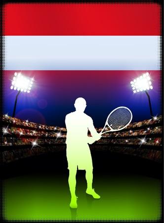 racket stadium: Austria Flag and Tennis Player on Stadium Background Original Illustration Stock Photo