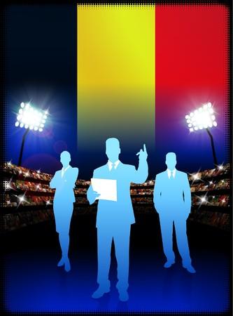 Belgium Business Team on Stadium BackgroundOriginal Illustration