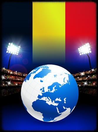 Belgium Flag with Globe on Stadium Background
