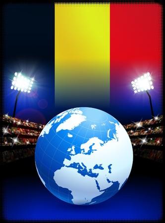 Belgium Flag with Globe on Stadium BackgroundOriginal Illustration Stock Illustration - 7264045