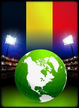 Belgium Flag with Globe on Stadium BackgroundOriginal Illustration