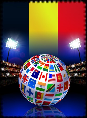 Belgium Flag Globe on Stadium Background