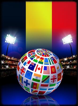 Belgium Flag Globe on Stadium Background Original Illustration illustration