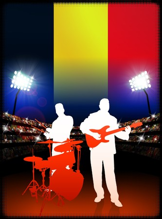 Live Music Band with Belgium Flag on Stadium Background Original Illustration