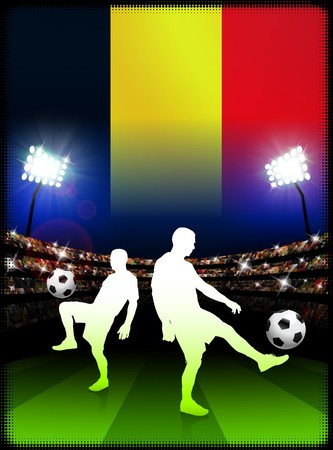 Belgium Soccer Player with Flag on Stadium Background