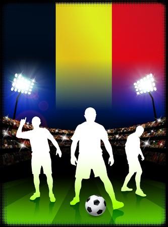 Belgium Soccer Player with Flag on Stadium Background Original Illustration illustration
