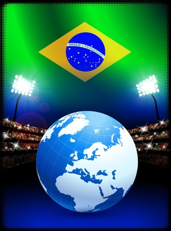 スタジアムの背景に地球とブラジルの国旗 オリジナル イラスト 写真素材