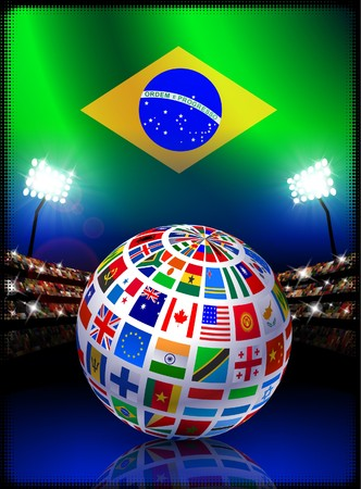 Brazil Flag Globe on Stadium Background Original Illustration illustration