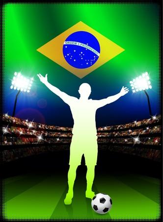 Brazil Soccer Player with Flag on Stadium BackgroundOriginal Illustration