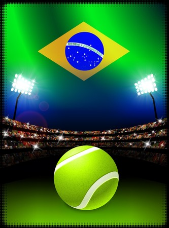 Brazil Flag and Tennis Ball on Stadium Background Original Illustration Stok Fotoğraf