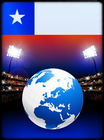 Chile Flag with Globe on Stadium Background