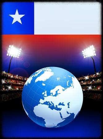 Chile Flag with Globe on Stadium BackgroundOriginal Illustration Stock Illustration - 7264240