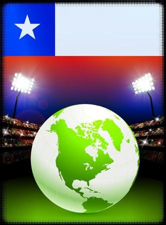 スタジアムの背景に地球とチリの国旗 オリジナル イラスト 写真素材