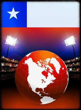 スタジアムの背景に世界でチリの国旗オリジナル イラスト