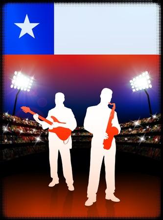 スタジアムの背景にチリの国旗とバンドをライブします。 オリジナル イラスト