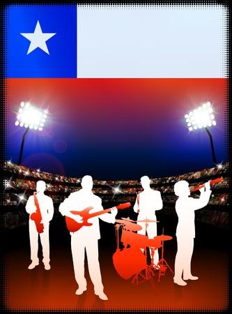 Live Music Band with Chile Flag on Stadium Background Original Illustration Stock Photo