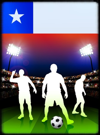 Chile Soccer Player with Flag on Stadium Background
