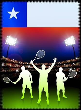 チリの国旗とスタジアムの背景にテニス プレーヤー オリジナル イラスト 写真素材