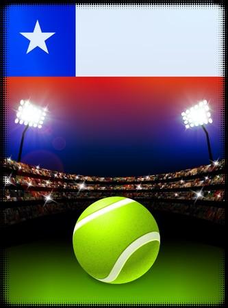 チリの国旗とスタジアムの背景にテニス ・ ボール オリジナル イラスト