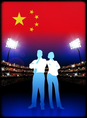 China Business Couple on Stadium Background Original Illustration illustration