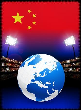 China Flag with Globe on Stadium BackgroundOriginal Illustration Stock Illustration - 7264135