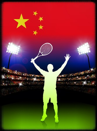 racket stadium: China Flag and Tennis Player on Stadium Background Original Illustration