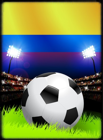 soccer goal: Columbia Flag and Ball on Stadium Background Original Illustration Stock Photo