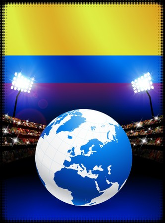 Columbia Flag with Globe on Stadium Background