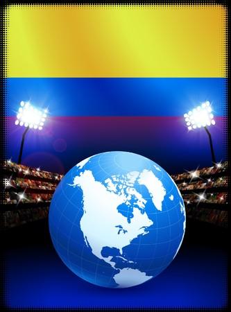 Columbia Flag with Globe on Stadium Background Original Illustration illustration