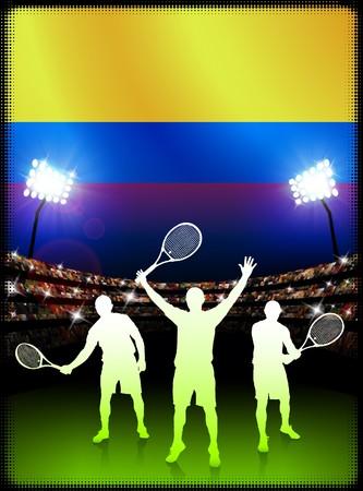 racket stadium: Columbia Flag and Tennis Player on Stadium Background Original Illustration