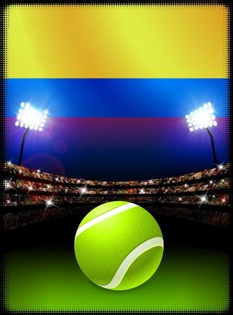 Columbia Flag and Tennis Ball on Stadium Background Original Illustration