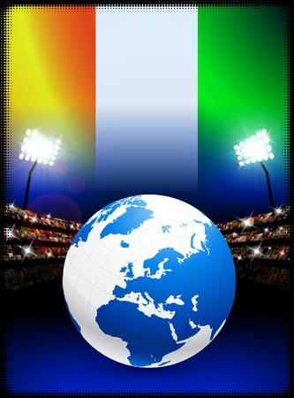 Ivory Coast Flag with Globe on Stadium BackgroundOriginal Illustration Stock Illustration - 7264278