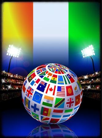 Ivory Coast Flag Globe on Stadium Background Original Illustration illustration