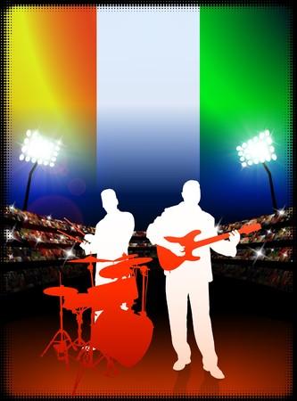Live Music Band with Ivory Coast Flag on Stadium Background Original Illustration