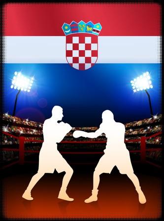 Croatia Boxing on Stadium Background Original Illustration illustration