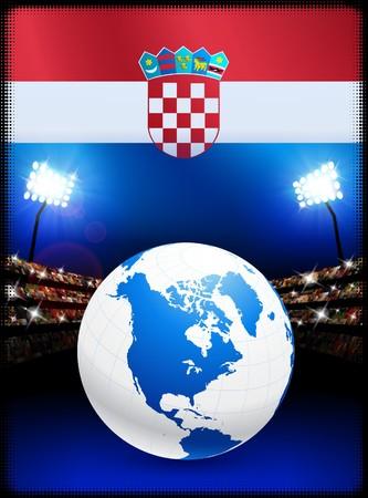 Croatia Flag with Globe on Stadium Background Original Illustration
