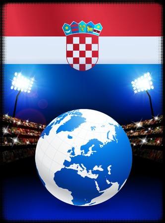 bandiera croazia: Bandiera della Croazia con Globe su sfondo Stadium Illustrazione originale
