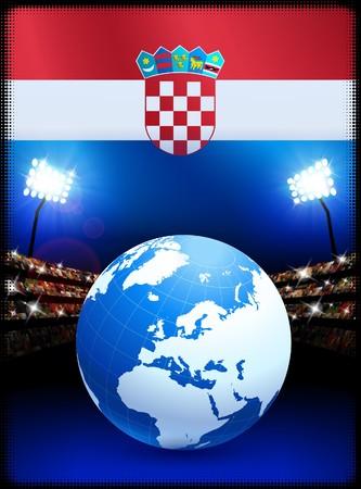 Croatia Flag with Globe on Stadium BackgroundOriginal Illustration Stock Illustration - 7264452