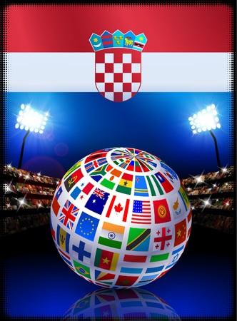 bandiera croazia: Croazia Flag Globe su sfondo Stadium Illustrazione originale