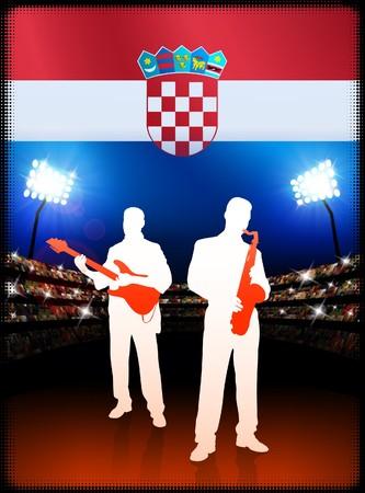 Live Music Band with Croatia Flag on Stadium Background Original Illustration