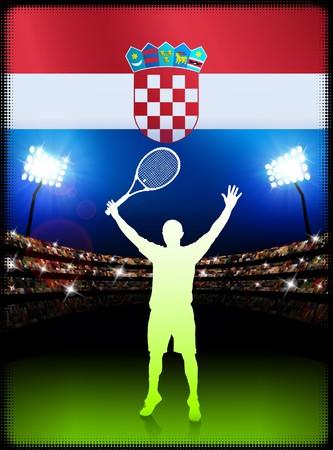 racket stadium: Croatia Flag and Tennis Player on Stadium Background Original Illustration