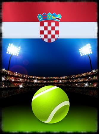 クロアチアの旗、スタジアムの背景にテニス ・ ボール オリジナル イラスト
