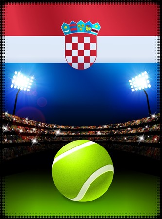 Croatia Flag and Tennis Ball on Stadium Background Original Illustration