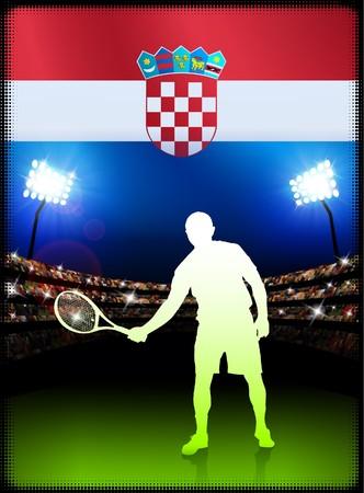 Croatia Flag and Tennis Player on Stadium Background Original Illustration