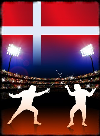 Denmark Fencing on Stadium Background Original Illustration illustration